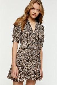 Topshop Leopard Print Wrap Mini Dress ~ animal prints ~ side tie dresses