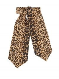 SAINT LAURENT Leopard-print silk-etamine lavallière / animal print pussy bow ties