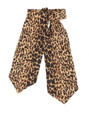 SAINT LAURENT Leopard-print silk-etamine lavallière / animal print pussy bow ties - flipped