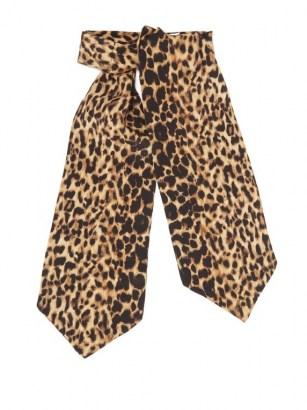 SAINT LAURENT Leopard-print silk-etamine lavallière / animal print pussy bow ties