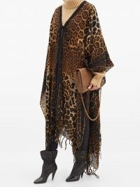 SAINT LAURENT Leopard-print wool pocho ~ wild animal print ponchos