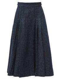 GABRIELA HEARST Lerna pleated denim skirt ~ dark blue pleat detail skirts