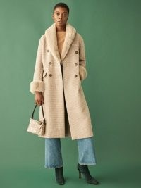 REFORMATION Lester Coat ~ taupe checked winter coats ~ faux fur collar outerwear