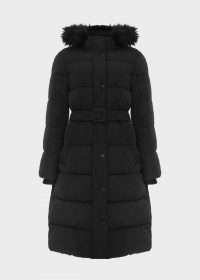 HOBBS LIBBY BELTED PUFFER JACKET – black hooded winter coats