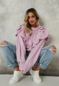 Missguided lilac frill detail jumper – ruffled jumpers
