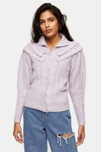 Topshop Lilac Frill Pointelle Knitted Cardigan – feminine cardigans