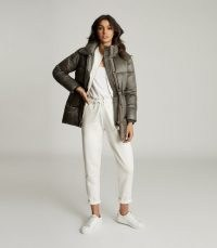 REISS LILAH MID LENGTH PUFFER JACKET KHAKI / casual padded jackets / winter outerwear