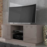 Lima Grey High Gloss TV Stand – features two cupboards with shelves which are ideal for storing DVDs or console games. It also features an open shelf in the middle made from tempered glass that is perfect for holding your AV equipment