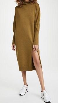 Line & Dot Beverly Mock Neck Long Sleeve Dress ~ olive roll neck dresses
