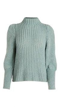 Line & Dot Elizabeth Sweater ~ sage green high neck bishop sleeve sweaters