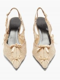 BALENCIAGA Lingerie sling-back lace pumps / romantic slingbacks / floral and bow embellished shoes