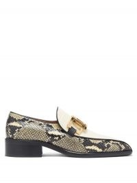 MARNI Linked snake & croc-effect leather loafers – chunky square toe loafer – shoes with reptile prints