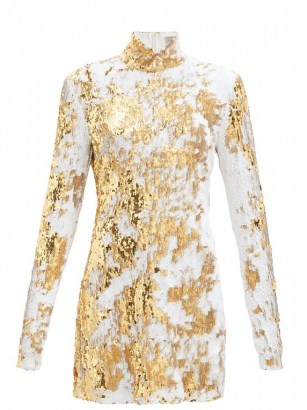 PREEN BY THORNTON BREGAZZI Liona high-neck sequinned dress / shimmering evening wear / luxe party dresses / event glamour