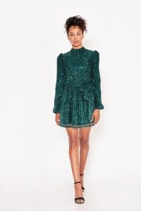 LITTLE MISTRESS ARINA EMERALD SEQUIN HIGH-NECK MINI DRESS ~ green sequinned party dresses