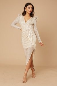 LITTLE MISTRESS BAYLOR CHAMPAGNE SEQUIN FRILL MAXI ~ sparkling occasion dresses ~ shimmering party fashion