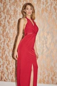 LITTLE MISTRESS MARTYNA CHILLI LACE INSERT HALTERNECK MAXI DRESS ~ glamorous red halter dresses