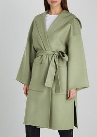 LOEWE Sage hooded wool and cashmere-blend coat – light green wrap coats with hoods