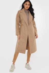 LORNA LUXE CAMEL 'ISABELLA' PIN STRIPE OVERSIZED COAT ~ celebrity inspired coats