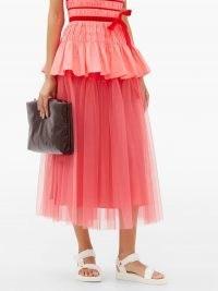 MOLLY GODDARD Lottie tiered tulle skirt / bright pink sheer overlay skirts / feminine occasion clothing