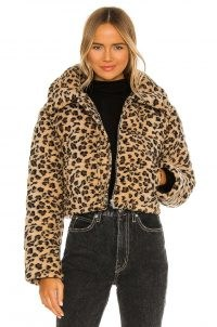 Lovers + Friends Brynlee Puffer Jacket – faux fur cheetah print jackets