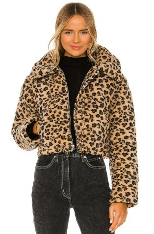 Lovers + Friends Brynlee Puffer Jacket – faux fur cheetah print jackets - flipped