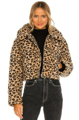 Lovers + Friends Brynlee Puffer Jacket – faux fur cheetah print jackets
