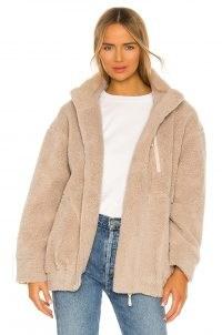 Lovers + Friends Faux Fur Zip Front Jacket in Beige