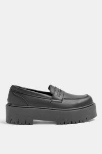 Topshop LOWDOWN Black Chunky Loafers   thick sole slip on shoes