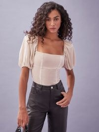 REFORMATION Luka Top ~ almond velvet square neck tops ~ puff sleeve fashion