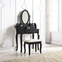 Lumberton Black Antique Dressing Table Set – Pairing a fresh lacquered finish with ornate carvings, it delivers an elegant infusion of country home chic