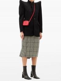 BALENCIAGA Lunch Box mini BB-embossed cross-body bag ~ small red crossbody