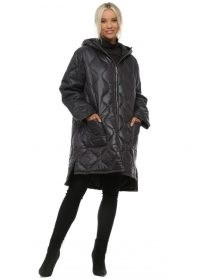 MADE IN ITALY Black Quilted Hooded Coat ~ stylish winter coats