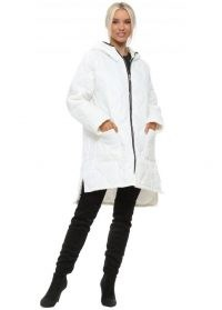 MADE IN ITALY White Quilted Hooded Coat ~ dip hem front zip coats
