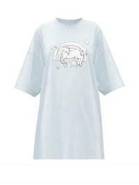 VETEMENTS Magic Unicorn-print cotton-jersey T-shirt / light-blue tee / unicorns on t-shirts