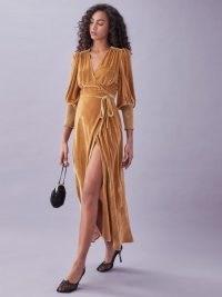 REFORMATION Mandi Dress ~ maxi length velvet wrap dresses ~ glamorous luxe style evening fashion