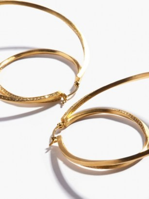 COMPLETEDWORKS Manifold 14kt gold-vermeil & topaz hoop earrings / large embellished double hoops / statement jewellery - flipped