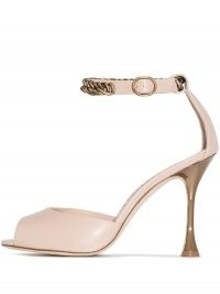 Manolo Blahnik Fombra patent-leather sandals in nude pink / chain detail high heels