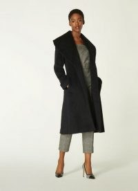 L.K. BENNETT MANON BLACK WOOL-BLEND SHAWL COLLAR COAT / chic winter coats