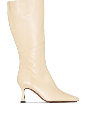 Manu Atelier XX Duck 80mm knee-high boots in vanilla-beige | luxe winter square toe boots - flipped