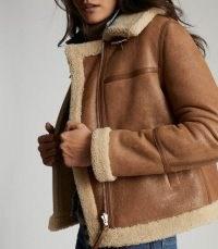 REISS MARGOT REVERSIBLE SHEARLING AVIATOR JACKET TAN ~ light brown winter jackets ~ casual luxe