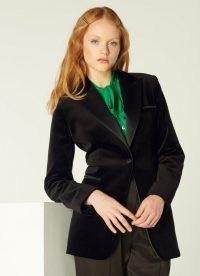L.K. BENNETT MARIA BLACK VELVET TUXEDO JACKET – women's tux jackets