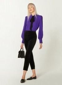 L.K. BENNETT MARIA BLACK VELVET TUXEDO TROUSERS – slim cropped pants