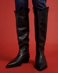 JIGSAW MARLO WESTERN BOOT LEATHER / black knee-high stack heel boots