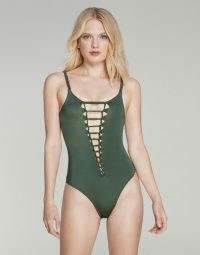 Agent Provocateur Marlow Swimsuit ~ plunging green swimsuits
