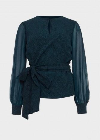 HOBBS MEADOW BLOUSE – sheer sleeved evening blouses ~ tie detail ~ wrap style tops ~ animal prints - flipped