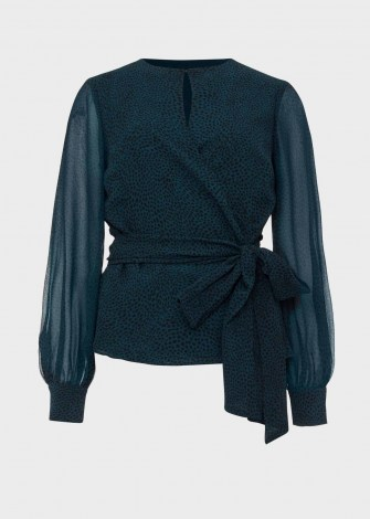 HOBBS MEADOW BLOUSE – sheer sleeved evening blouses ~ tie detail ~ wrap style tops ~ animal prints