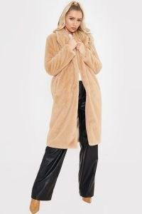 MEGAN MCKENNA TAN FAUX FUR LONGLINE SEVENTIES COAT ~ celebrity style light brown winter coats