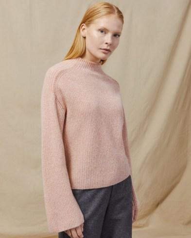 JIGSAW MERINO CASHMERE MOULINÉ JUMPER ~ pink soft feel mock neck jumpers - flipped