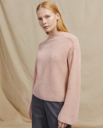 JIGSAW MERINO CASHMERE MOULINÉ JUMPER ~ pink soft feel mock neck jumpers
