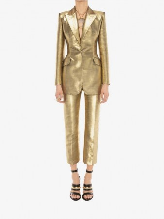 Metallic Moiré Jacket | gold evening jackets - flipped